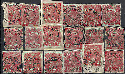 AUSTRALIA  18x used 1d red KGV defins with partial Tasmanian postmarks