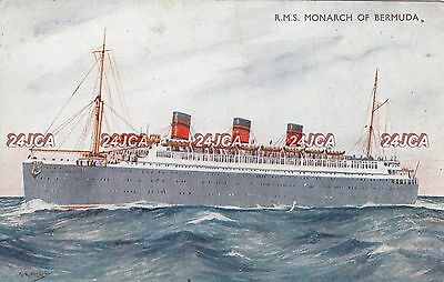 "Furness Bermuda Postcard. RMS ""Monarch of Bermuda"" Liner. ""New Australia"" 1930s"