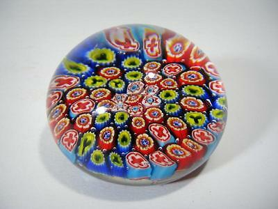 Vintage Art Glass Millefiori Flower Close Concentric Paperweight Hand Blown
