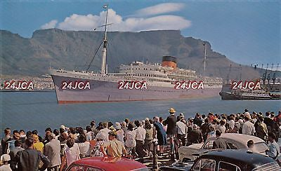 "Union Castle Line Postcard. RMMV ""Athlone Castle"" Liner. Cape Town. Cars!  1950s"