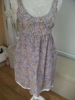 Ladies pastel blue with yellows white and orange summer tea? dress size 18