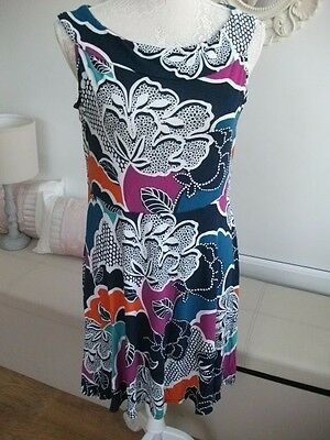 Ladies patterned dress with navy, orange, green, pink, blue size 14 TU