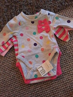 Brand New Mothercare 3 Pack Long Sleeve Bodysuits Size Tiny Baby