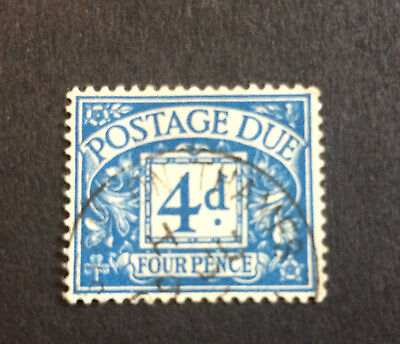 GB GREAT BRITAIN SG D38 4d RARE VERIFIED FOUR PENCE POSTAGE DUE STAMP GC