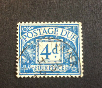 GB GREAT BRITAIN SG D34 4d RARE VERIFIED c.1938 FOUR PENCE POSTAGE DUE STAMP GC