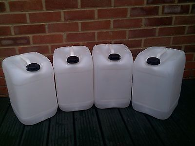 """4 x 20 Litre   Plastic Jerry Cans for use as Water containers """"GREAT VALUE"""""""