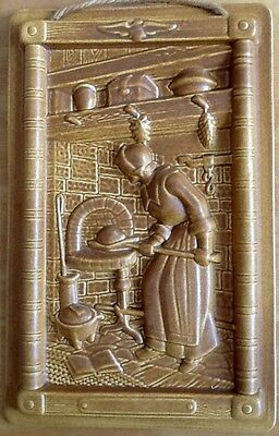 Vintage POTTERY RELIEF WALL HANGING - WOMAN BAKING BREAD