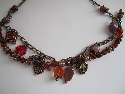 Vintage Bohemian Necklace Choker - Red Warm Tones - Dangly Beads Very Artistic