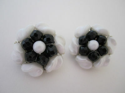 Vintage German Black & White Plastic Beads Earrings - Germany Flower