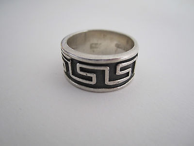 Mexico Vintage Modernist Sterling Silver Ring - Oxidized Geometric Pattern