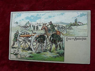 "Imperial German Military Postcard-Artillery-""Gruss vom Manoverfelde"""