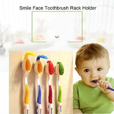 4Pcs Smile Face Toothbrush Rack Holder Stand Mount Wall Suction Gripping MX