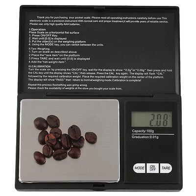 Pocket 100g x 0.01g Digital Jewelry Gold Gram Balance Weight Scale MX