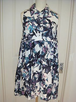 Womens Floral Sleeveless Shirt Style Tunic Asos Dress Size 10
