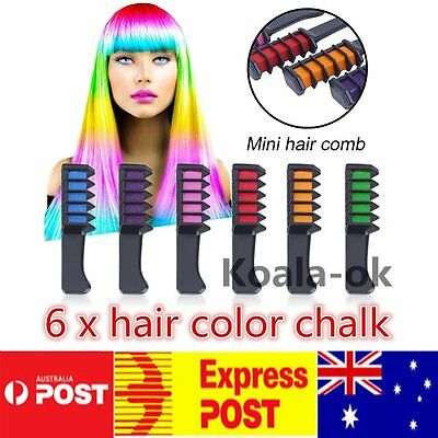 6PCS/SET Mini Disposable Salon Use Hair Dye Comb Crayons For Hair Color Chalk MX