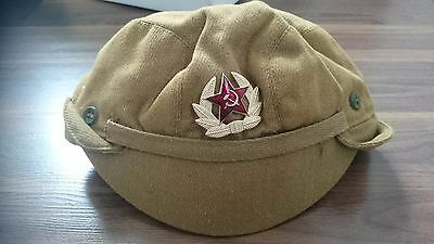 Soviet USSR Russian Red Army Military Ushanka HAT CAP Beret Metal Badge star CAP
