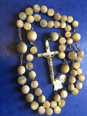 Magnificent Antique Rosary mother of Pearl & Silver large 129gr