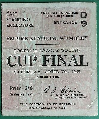 1945 FOOTBALL LEAGUE SOUTH FINAL MATCH TICKET -  WEMBLEY CHELSEA vs. MILLWALL
