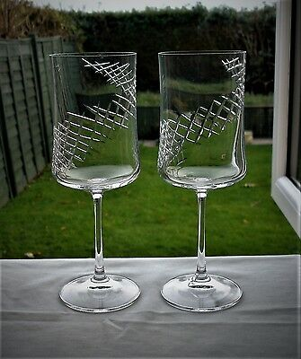 2 Royal Brierley Hand Cut Crystal HELIX Wine Goblets / Glasses  BOXED
