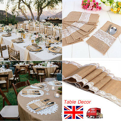 Hessian Table Runners Burlap & Lace Vintage Rustic Home Wedding Table Decor UK