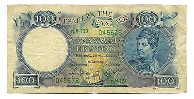 100 drachmai Greece banknote,ND(1944), P-170a , F-F++