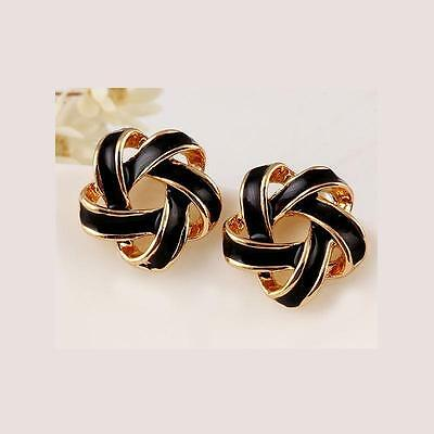 Elegant Fashion Women Lady Girls Gold Plated Twisted spiral Ear Stud Earrings