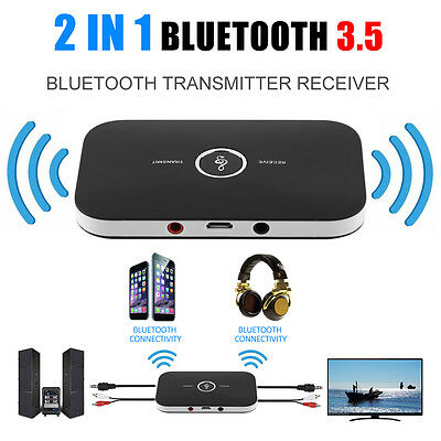 2 In 1 Wireless Stereo Audio Bluetooth Transmitter Receiver Adapter Black NEW AA