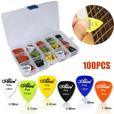 100pcs Acoustic Electric Bass Guitar Picks Plectrums+Case (Various 6 thickness)