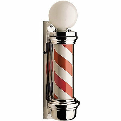 Dome Barber Pole - British barber shop sign with built-in light & revolving