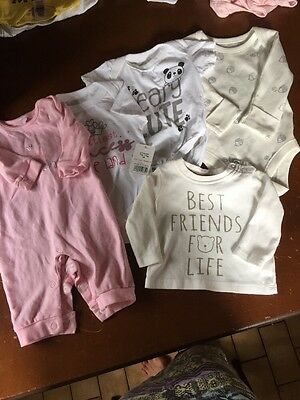 Baby Girls 0-3 Months Princess/bear Vest, Top And Babygro Bundle