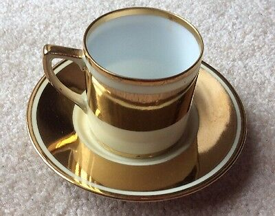 Vintage Noritake Coffee Can Cup & Saucer Gold Gilt Embossed Green Backstamp