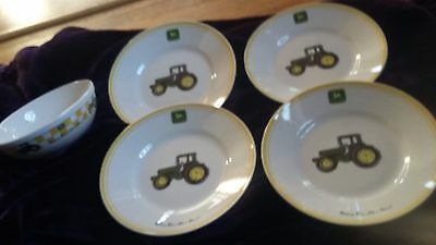 "Gibson John Deere Tractor 9"" Salad Luncheon Plates / Bowl set of 5"
