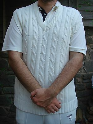Gunn & Moore Mens cricket short sleeve cable knit sweater slipover XL