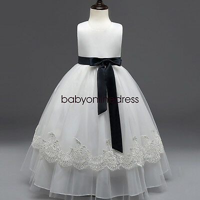 White Flower Girl Dress  Party Pageant Princess Wedding Bridesmaid Formal Dress
