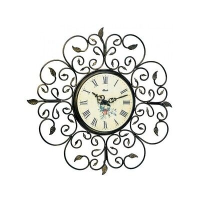 Hermle quartz wall clock 30897-002100, antique-style, metal, rustic, iron leaves