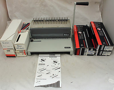IBICO IBIMATIC AG Manual Comb Binding Desktop Machine+7 Boxes of Comb Spines-250