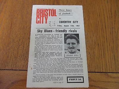 Bristol City V Coventry City Friendly Football programme- 11/08/1967.