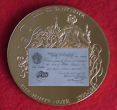 Gold plated Medal Coin British Banknote Bank England £5 White Note Commemorative