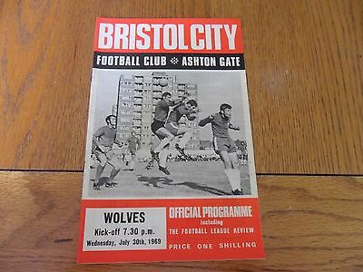 Bristol City V Wolves- Friendly Football Programme- 30/07/1969.