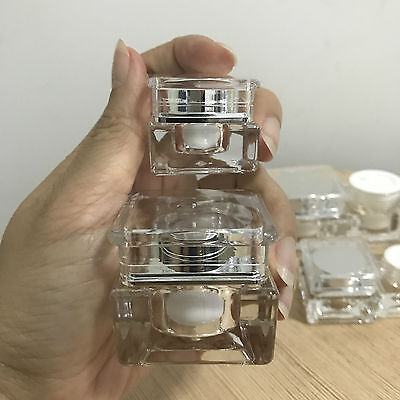 24 empty silver container jar refill  tester makeup cosmetic travel 5-10 g.