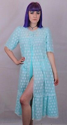 Vintage 60's Baby Blue Nylon Night Gown Size 8 10 12 14
