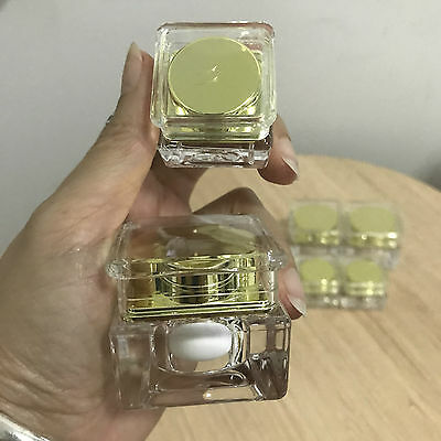 24 empty gold container jar refill  tester makeup cosmetic travel 5-10 g.
