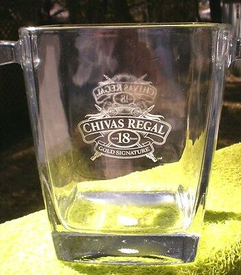 "Vintage Chivas Regal ""18"" Glass Ice Bucket Scotch Whiskey Liquor Spirits Sign"