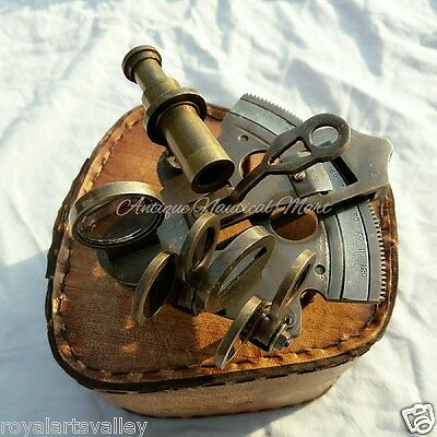 Antique Brass Maritime Sextant With Leather Box Marine Collectible