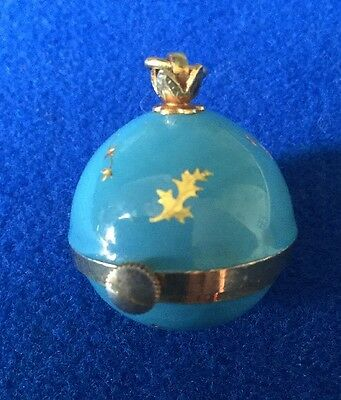 Vintage Turquoise Blue Gold Enamel Ball Pendant Watch By Swiss ERNEST BOREL