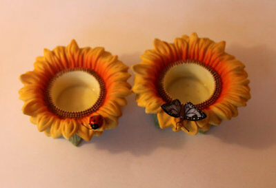 NEW! PartyLite Sunflower Buddies TeaLight Candle Holders w/LadyBug & Butterfly