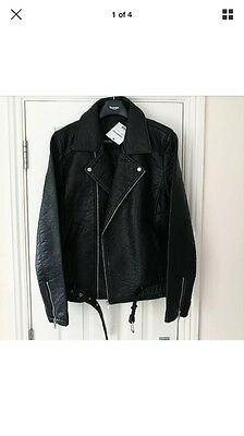 BNWT Men's Leather Biker Jacket patch denim rocker asos topman st [XL] [44-46]