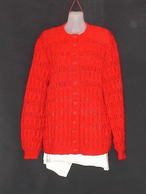 1960's Vintage Lacy Hand Knitted Crew Neck Wool Cardigan.
