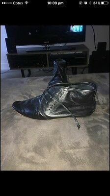 Mere Windsor Smith Mens Black Leather Boots Size 43