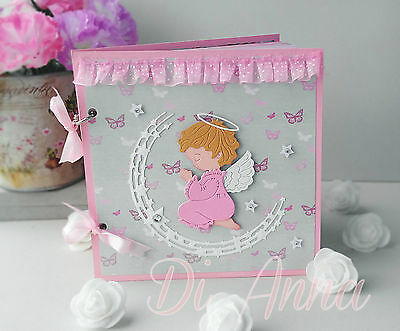 Christening guest wish book praying angel unique handmade personalised girl pink